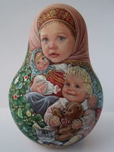 Russian hand painted tilting dolls not nesting Like a vintage Artist Usachova   eBay