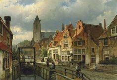 Figures on a Canal in Oudewater, Holland, oil on canvas by Willem Koekkoek, Northern Netherlands artist, 1839-1885.  A Thousand Winds