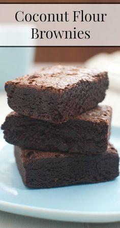 Coconut Flour Brownies -- #GrainFreeBrownies #GlutenFreeBrownies #coconutflourbrownies #paleobrownies