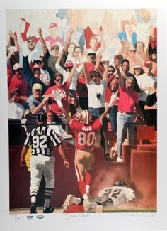 Signed Jerry Rice Lithograph - Limited Edition of 950 - 17x23 - PSA/DNA Certified - Autographed NFL Photos by Sports Memorabilia. $149.99. When framing is selected, frame will not cover the signature. With numbers like that, he's easily one of the best in the game. All items sold by Sportsmemorabilia are guaranteed authentic. Inducted to the Pro Football Hall of Fame in 2010, Jerry Rice spent the majority of his career with the San Francisco 49ers and Oakland Raiders...