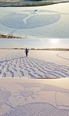 Simon Beck's Snow Art is back with an incredible mural of a dragon, created by trekking through snow.
