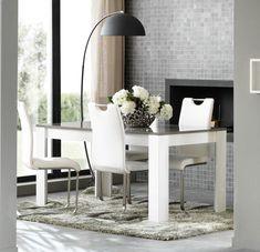 table de salle manger design laque blancgris mgane