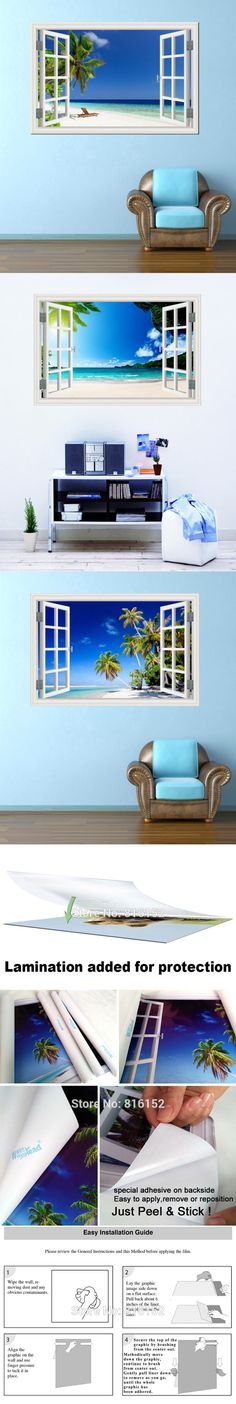 Summer Beach Blue Sky Coconut Tree High Quality 3D Wall Sticker Seascape Removable Wallpaper Creative Window View Home Decor $12.99