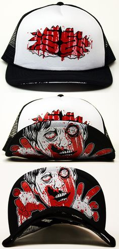 06ec02284ac This Zombified head piece features a blood soaked ZOMBIE on the bill and  exposed brains on