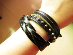 Punk Rock Style Soft Leather Rivet Wristband Cuff bracelet Women or Men Bracelet   by accessory365, $9.00