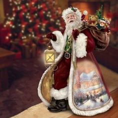 Thomas Kinkade Season Of Giving Story-Telling And Musical Santa Sculpture by The Bradford Exchange Santa Figurines, Christmas Figurines, Thomas Kincaid, Christmas Photography, Christmas Decorations, Holiday Decor, How To Make Ornaments, Winter Time, Christmas Stockings