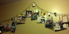 Fishing stringer w/pictures, floats, lures & quotes. Used for our fishing themed wedding.