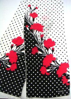 Vintage FloralPolka Dot Silk Scarf by Bill by QVintage on Etsy, $28.00