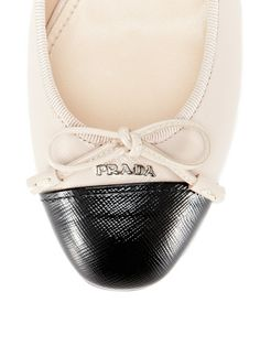 Mini Bow Grained Leather Ballet Flat by Prada