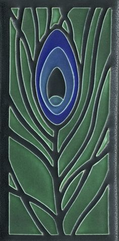 Peacock Feather in Green by Motawi Tileworks    This is ceramic, but would be cool in fused glass.