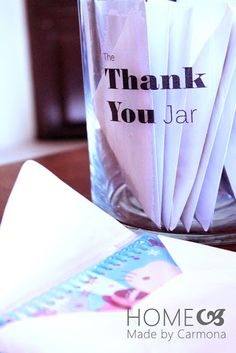Home Made by Carmona: The Thank You Jar – Dry Erase Calendar İdeas.