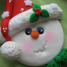 Happy Snowman Ornament Polymer Clay by DesignsByWho on Etsy, $10.00