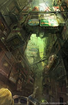 Concept Art by Takeshi Oga cyberpunk Arte Cyberpunk, Cyberpunk City, Futuristic City, Concept Art Landscape, Fantasy Landscape, Environment Concept Art, Environment Design, Future City, Near Future