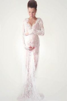 ba0be7e759f CCO03-Long Sleeve Lace Maternity Dress Photo Shoot Prop (Multiple Sizes and  Colors Available