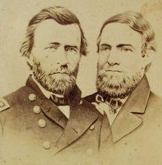 RARE ANTIQUE CDV JUGATE PHOTO PORTRAIT OF PRESIDENT U.S. GRANT & SCHUYLER COLFAX
