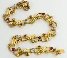 French Art Nouveau 18K Gold Ruby & Diamond Bracelet