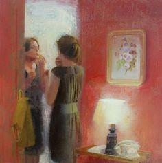 Red - Alejandra Caballero Spanish, b. Oil on canvas, 50 x 50 cm. Aesthetic Painting, Aesthetic Art, I Love Mirrors, Classical Art, Moon Art, Art World, Lovers Art, Oil On Canvas, Spanish