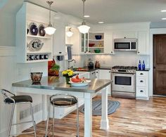 Modern white kitchen island white kitchen island with seating small kitchen island table image of small Kitchen Island Table, White Kitchen Island, Kitchen Island With Seating, Kitchen Dining, Kitchen Stools, Kitchen Storage, Small L Shaped Kitchens, U Shaped Kitchen, Kitchen Open Concept