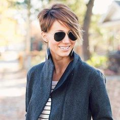 70 Overwhelming Ideas for Short Choppy Haircuts : Pixie With Long Choppy Bangs Short Choppy Haircuts, Choppy Cut, Choppy Bangs, Long Layered Haircuts, Long Bangs, Short Choppy Layers, Haircut Short, Layered Hairstyles, Layered Pixie Cut