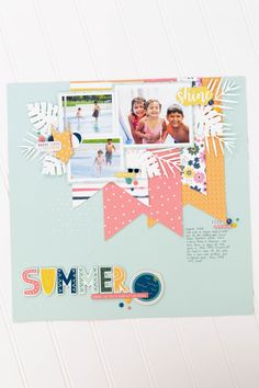 June Projects-2176 Scrapbook Pages, Scrapbooking, Scrapbook Layouts, Party Frame, Echo Park Paper, Papers Co, Tropical Leaves, Craft Projects, Sunshine