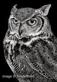 Great-Horned-Owl by Tim Jeffs -- All Creatures Great and Small - Ink Drawings www-designstack-co