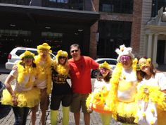 Andy, the president of #DArtagnan poses with the team from Felix Restaurant & @Foodie International. Costumes are encouraged but not required at #Duckathlon.