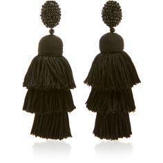 Long Silk Tiered Tassel C Earring | Moda Operandi ($450) via Polyvore featuring jewelry and earrings