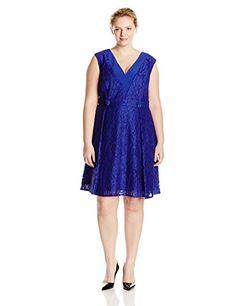 f1a1d588e89 Adrianna Papell Women s Plus-Size A-Line Extended Shoulder Lace V Neck Dress