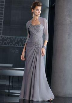 Funky One Shoulder Ruffle Applique Silver Chiffon Column Floor Length Mother Of Bride Dress
