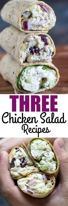 here are three chicken salad recipes made from the same base with