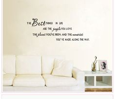 """ The Best Things In Life  "" Vinyl Decal Living Wall Quote Inspiration Stickers #Metohill #SoildColor"