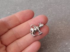 Cow Charm Sterling Silver Detailed 3D Vintage 040517BT by cutterstone on Etsy #3Dcharm #cowcharm #cowwithudder #vintagependant #sterlingsilver #animal #barnyard