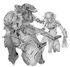 It is fan art Alien Concept Art, Armor Concept, Aliens Colonial Marines, Character Art, Character Design, Gato Anime, Tribal Warrior, Alien Design, Horror Movie Characters