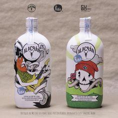 Botellas intervenidas por el Ilustrador Edu Rubio