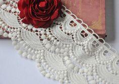 Cotton Lace Trim Wide Light Cream Floral Scallop Lace 4.33 Inches Wide 1 yard