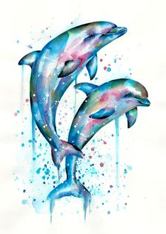 I have always been fascinated by dolphins, they are so intelligent and display s. - I have always been fascinated by dolphins, they are so intelligent and display so much emotion. Dolphin Drawing, Dolphin Painting, Dolphin Art, Dolphin Quotes, Dolphin Logo, Watercolor Ocean, Watercolor Animals, Watercolor Paintings, Tattoo Watercolor