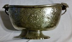 Vintage Silver Metal Centerpiece Oval Bowl Dish With Floral Design Made in India