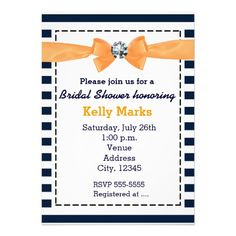 Nautical stripes navy orange bow bridal shower personalized announcements
