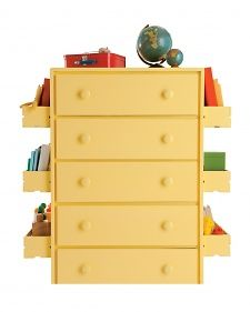 affix inexpensive CD crates to side of dresser or wall to store books and toys etc.