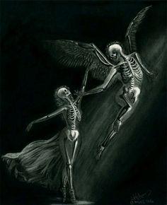 Forbidden Dance by desdainart on DeviantArt Skeleton Love, Skeleton Art, Angel Illustration, Beautiful Dark Art, Skull Artwork, Arte Obscura, Dark Art Drawings, Skull Tattoos, Gothic Art
