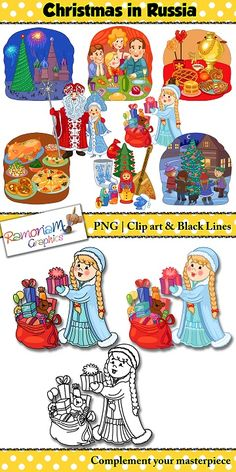 This Christmas clip art set depicts the way the Russians celebrate Christmas!   Perfect for Christmas around the World resources and activities