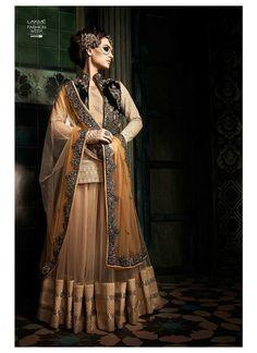 Vikram Phadnis Yellow, Green & Beige Net Designer suit - shopneez.com @ $146.77
