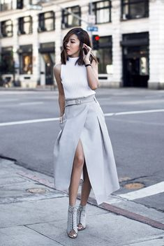 spring / summer - street chic style - street style - business casual - neutral layers - summer outfits - office wear - work outfits - casual outfits - party outfits - white rib knit tank top + grey midi skirt with slit + grey lace up heeled booties