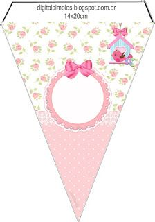 Kits Imprimibles Piquilin: Kit Imprimible Pajarito Rosa GRATIS Free Banner, Bunting Banner, Bird Party, Tea Party, Cardboard Box Crafts, Paper Crafts, Baby Shawer, Kids Boutique, Ideas Para Fiestas