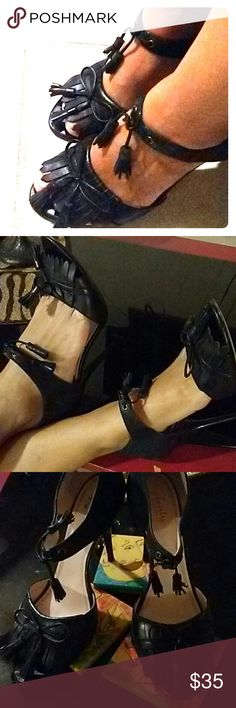 Tracy Reese open toe Black leather Gorgeousness Tracy Reese Shoes Heels