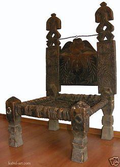 antik orientalische Afghanistan Stuhl Nuristan Chair Swat Pakistan kohistan B