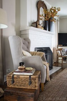 Rustic + Woven Living Room Decorated for Fall