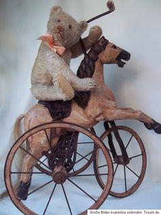 *Early Steiff Teddy on a Vintage Riding Horse Antique Toys, Vintage Toys, Vintage Antiques, Steiff Teddy Bear, Teddy Bear Toys, Teddy Photos, Love Bears All Things, Wooden Horse, Vintage Teddy Bears