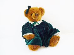 Vintage Christmas Teddy Bear Stuffed Animal in by LeVieuxSalon