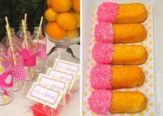 lemonade party...with white chocolate dipped twinkles